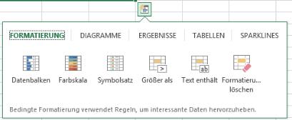 Excel 2013 Schnellanalyse